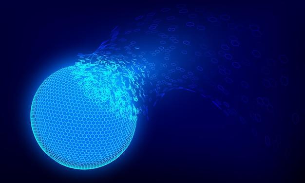 青い球ホログラムの破壊。未来の技術コンセプト。ベクトルイラスト