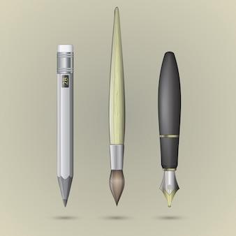 Отдельный карандаш, кисть и ручка