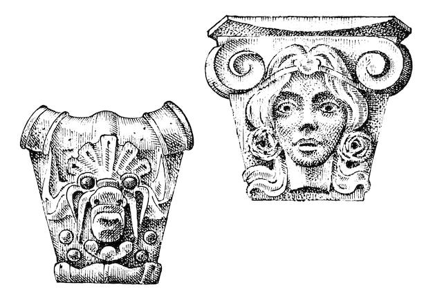 古代の古典的な建物の詳細。建築の装飾的な要素。トスカーナ、ドリス、イオニック、ローマの列を示しています。古いスケッチ、ヴィンテージ、アンティーク、バロックまたはゴシック様式で描かれた刻まれた手。