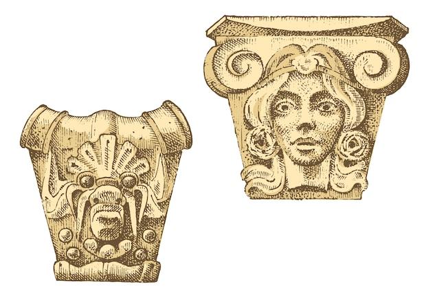 Деталь старинного классического здания. архитектурно-декоративные элементы. показаны тосканские, дорические, ионные и римские колонны.