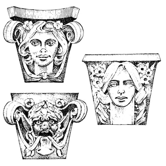古代の古典的な建物の詳細。建築の装飾的な要素。トスカーナ、ドリス、イオニック、ローマの列を示しています。