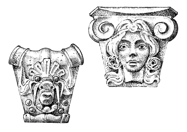 Detail ancient classic building. architectural ornamental elements. showing tuscan, doric, ionic and roman column. engraved hand drawn in old sketch, vintage and antique, baroque or gothic style.