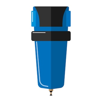 흰색 배경에 있는 우물에서 물을 정화하기 위한 세부 사항. 평면 스타일 벡터 일러스트 레이 션에서 필터링에 대 한 격리 된 파란색 플라스틱 플라스 크.
