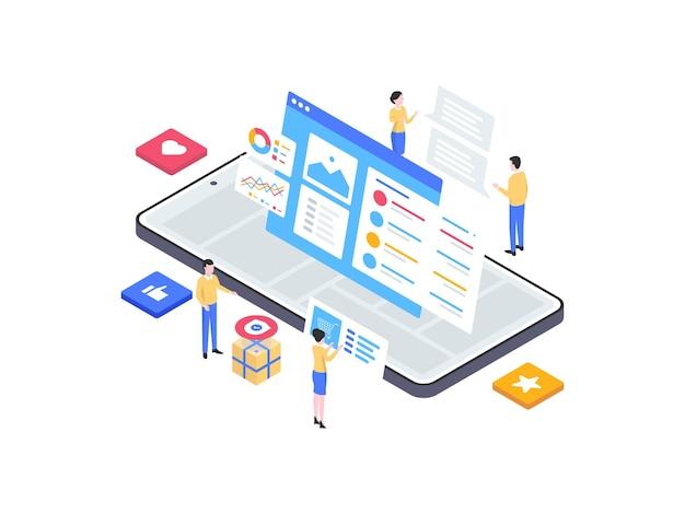 モバイルアイソメイラストの詳細製品。モバイルアプリ、ウェブサイト、バナー、図、インフォグラフィック、その他のグラフィックアセットに適しています。