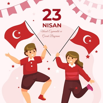 Detailed 23 nisan illustration Free Vector
