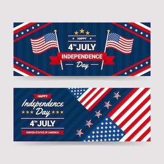 4 luglio dettagliato - set di banner per il giorno dell'indipendenza