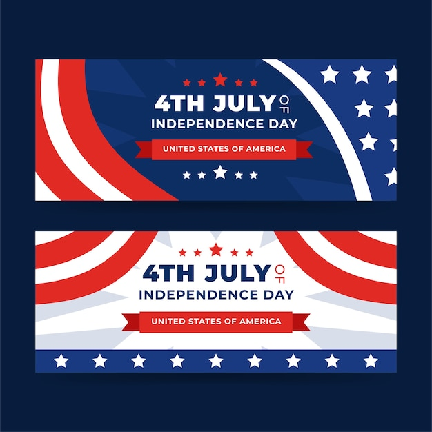 Detailed 4th of july - independence day banners set