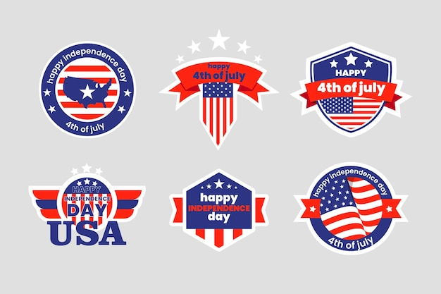 Detailed 4th of july - independence day label collection