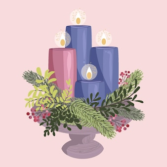 Detailed advent wreath in flat design