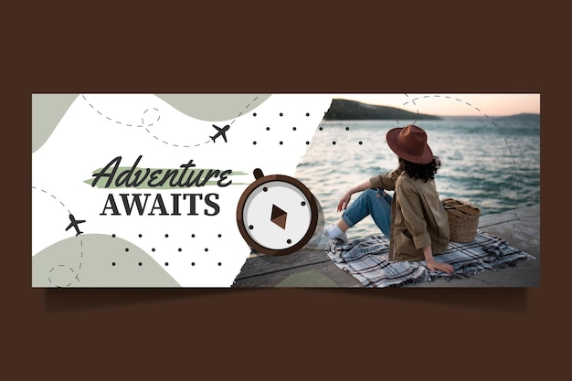Detailed adventure social media cover template