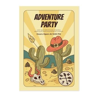 Detailed adventure vertical flyer template