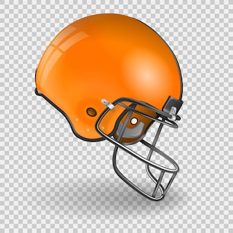 Detailed american football helmet, easy to change colors. side view.   on transparent background