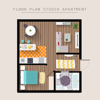 자세한 아파트 가구 오버 헤드 평면도. 1 베드룸 아파트. 평면 스타일 일러스트.