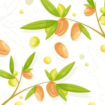 Detailed argan oil background illustrated