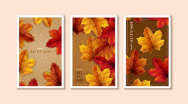 자세한 가을 카드 컬렉션