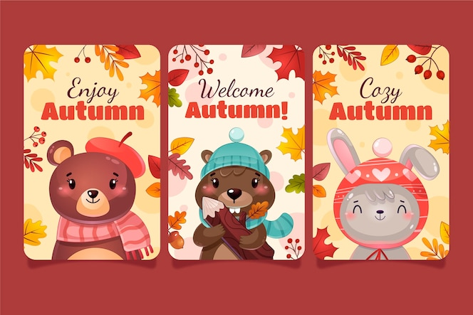 Detailed autumn cards collection