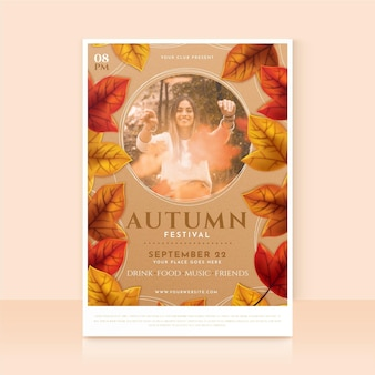 Detailed autumn vertical flyer template with photo