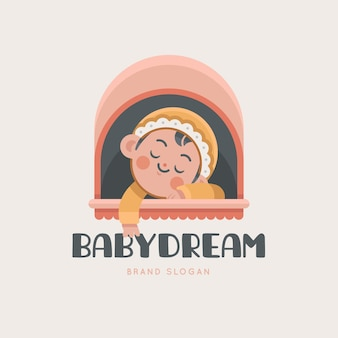 Detailedbaby logo sleeping in a baby stroller