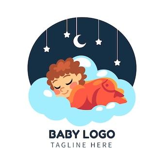 Иллюстрированный подробный шаблон логотипа ребенка