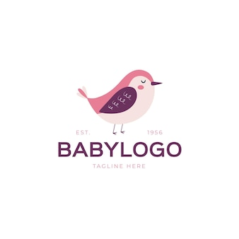 Детальный шаблон логотипа ребенка с птицей