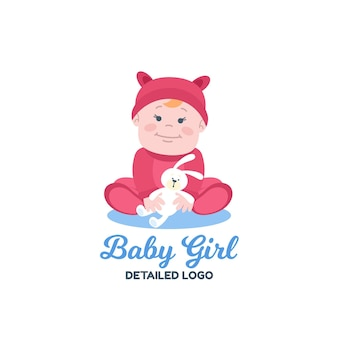 Modello di logo bambino dettagliato