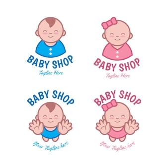 詳細な赤ちゃんのロゴテンプレートセット