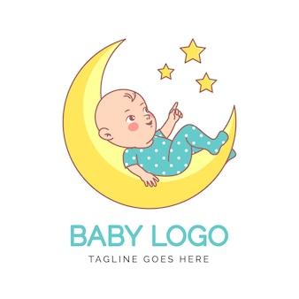 Детальный ребенок на луне логотип