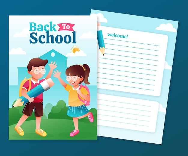 Detailed back to school card template