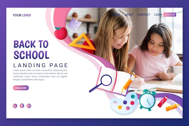 Detailed back to school landing page template with photo
