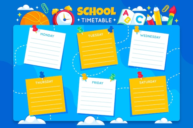 Detailed back to school timetable template