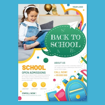 Detailed back to school vertical flyer template with photo