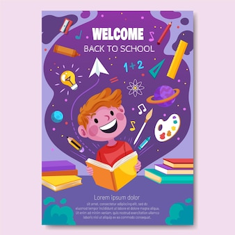 Detailed back to school vertical poster template