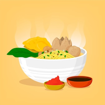 Detailed bakso in bowl illustrated