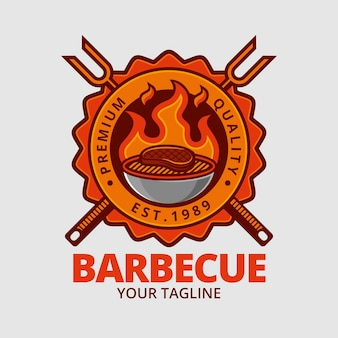 Detailed barbecue logo template