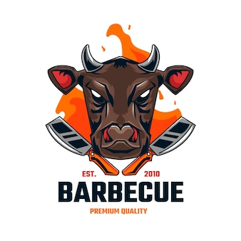 Detailed barbecue logo template Free Vector