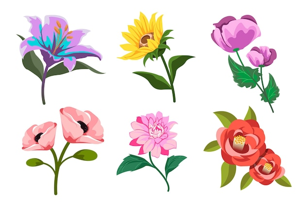 Bella collezione di fiori primaverili dettagliata