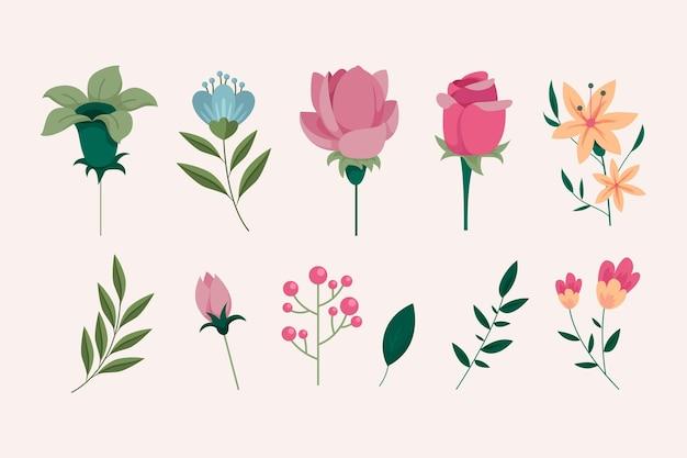 Подробный набор красивых весенних цветов