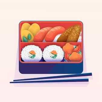 Подробная иллюстрированная коробка для бенто