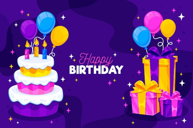 ケーキと詳細な誕生日の背景