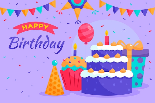 Detailed birthday background Free Vector