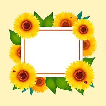 Detailed bloomed sunflower border