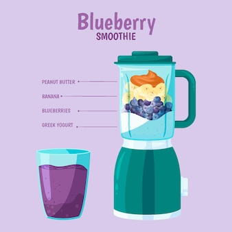 Detailed blueberry smoothie in blender glass