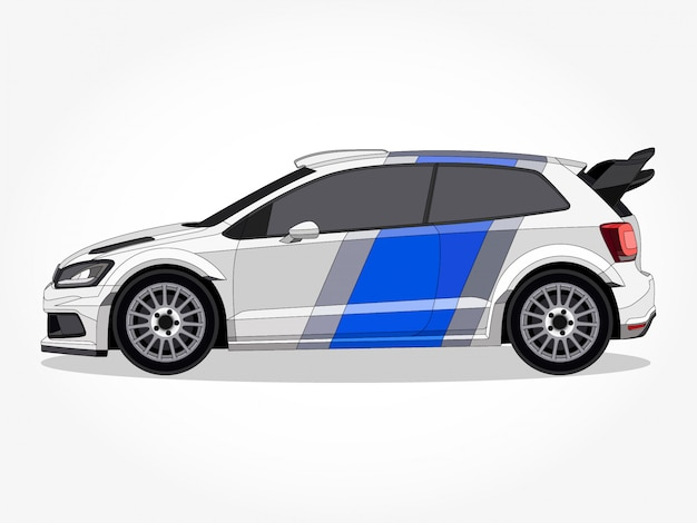Detailed body and rims of a car cartoon vector illustration