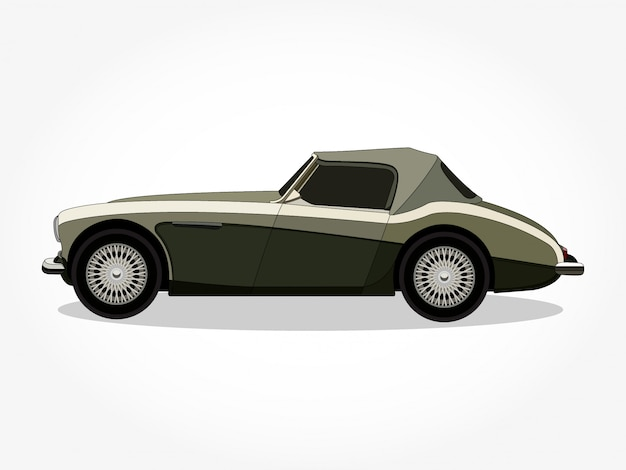 Detailed body and rims of classic car cartoon illustration