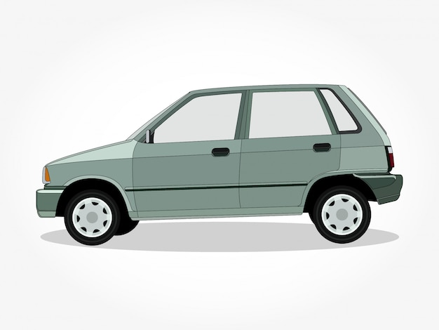 Detailed body and rims of a flat colored car cartoon illustration with black stroke and shadow effect