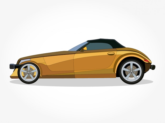 Detailed body and rims of a flat colored car cartoon vector illustration with black stroke