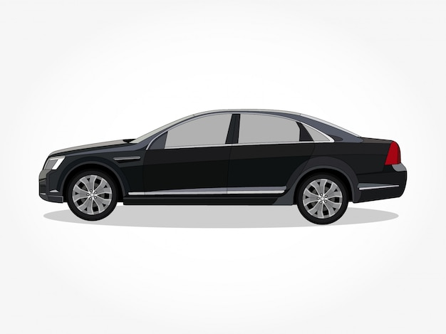 Detailed body and rims of a flat colored car cartoon