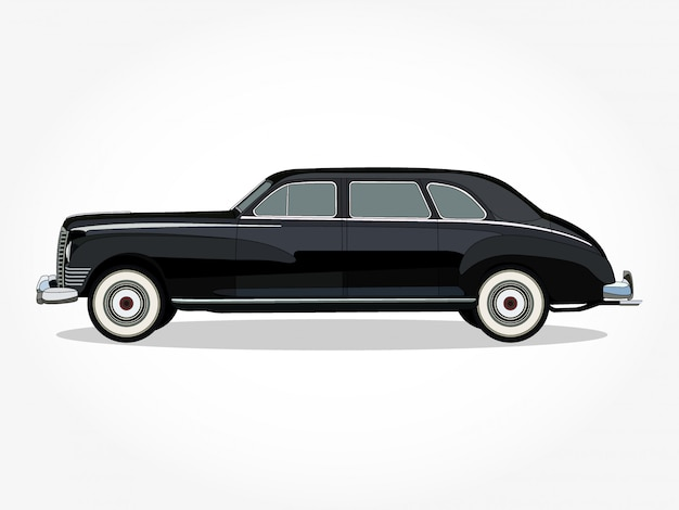 Detailed body and rims of a flat colored classic car cartoon illustration with black stroke and shadow effect