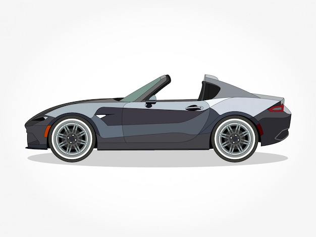 Detailed body and rims of a flat colored convertible car cartoon illustration with black stroke and shadow effect
