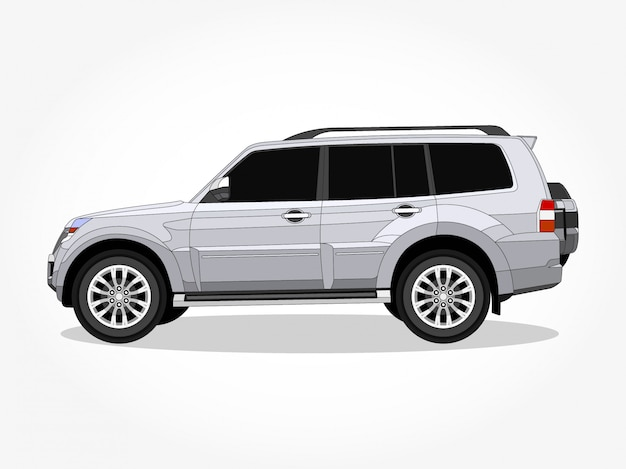 Detailed body and rims of a flat colored suv car cartoon illustration with black stroke and shadow effect